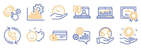 Set of Technology icons, such as Seo graph, Cogwheel. Certificate, save planet. Call center, Medical help, Safe time. Smile, Web analytics, Employee hand. Vector