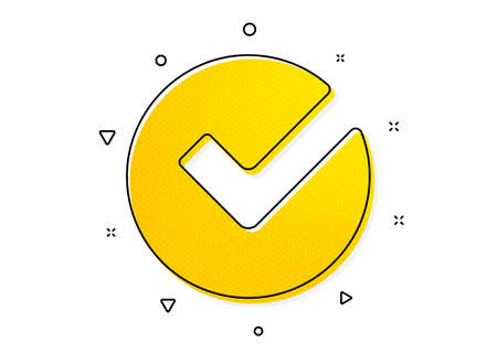 Approved Tick sign. Check icon. Confirm, Done or Accept symbol. Yellow circles pattern. Classic verify icon. Geometric elements. Vector