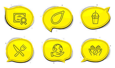 Coffee cocktail sign. Diploma certificate, save planet chat bubbles. Coffee, Pumpkin seed and Food line icons set. Roasted bean, Vegetarian food, Cutlery. Milkshake. Food and drink set. Vector
