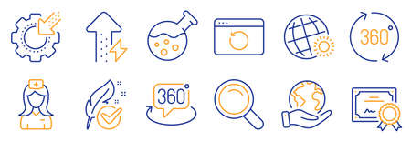Set of Science icons, such as Energy growing, World weather. Certificate, save planet. Recovery internet, Hospital nurse, Search. 360 degrees, Seo gear, Chemistry lab. Vector
