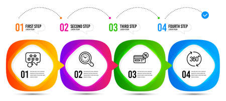 Time management, Ranking star and Cashback line icons set. Timeline steps. 360 degrees sign. Time analysis, Click rank, Non-cash payment. Full rotation. Technology set. Vector Vektoros illusztráció