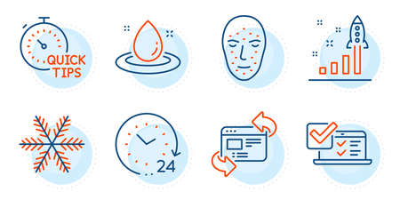 Face biometrics, Online survey and Quick tips signs. 24 hours, Refresh website and Snowflake line icons set. Fuel energy, Development plan symbols. Time, Update internet. Technology set. Vector  イラスト・ベクター素材
