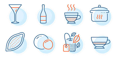 Peas, Martini glass and Champagne bottle signs. Cafe creme, Bombon coffee and Mint bag line icons set. Boiling pan, Cocoa nut symbols. Hot coffee, Cafe bombon. Food and drink set. Vector Stock Illustratie
