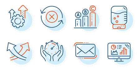 Seo gear, Timer and Reject refresh signs. Messenger mail, Intersection arrows and Analytics graph line icons set. Graph chart, Water cooler symbols. New e-mail, Exchange. Technology set. Vector Illustration