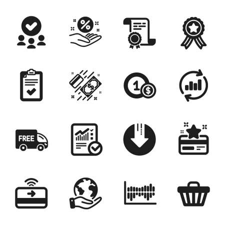 Set of Finance icons, such as Shop cart, Free delivery. Certificate, approved group, save planet. Usd coins, Loan percent, Contactless payment. Vector Vectores