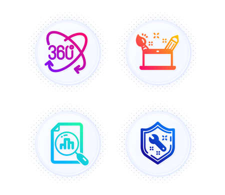 Analytics graph, Full rotation and Creativity concept icons simple set. Button with halftone dots. Spanner sign. Chart report, 360 degree, Graphic art. Repair service. Technology set. Vector