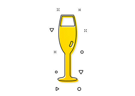 Wine glass sign. Champagne glass icon. Yellow circles pattern. Classic champagne glass icon. Geometric elements. Vector Stock Illustratie