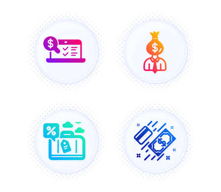 Travel loan, Online accounting and Manager icons simple set. Button with halftone dots. Payment sign. Trip discount, Web audit, Work profit. Money. Finance set. Gradient flat travel loan icon. Vector