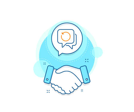 Backup data sign. Handshake deal complex icon. Recovery info line icon. Restore information symbol. Agreement shaking hands banner. Recovery data sign. Vector