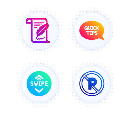 Feather, Swipe up and Quickstart guide icons simple set. Button with halftone dots. No parking sign. Copyright page, Scroll screen, Helpful tricks. Car park. Business set. Vector  イラスト・ベクター素材