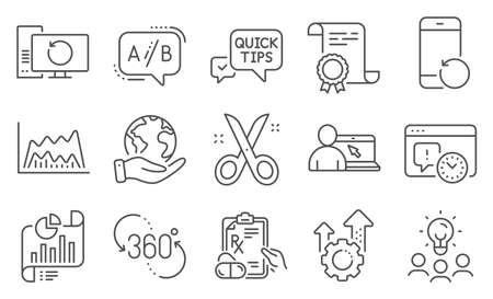 Set of Science icons, such as Scissors, Recovery phone. Vector Illustratie