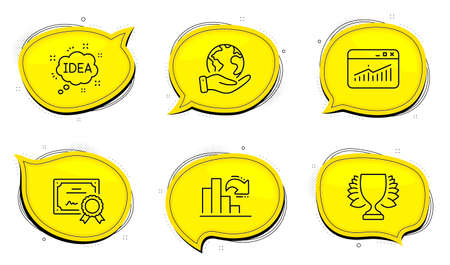Idea sign. Diploma certificate, save planet chat bubbles. Winner, Website statistics and Decreasing graph line icons set. Sports achievement, Data analysis, Column chart. Creative message. Vector 向量圖像