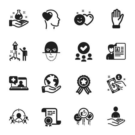 Set of People icons, such as Job interview, Chemistry lab. Certificate, approved group, save planet. Recruitment, Like, Smile. Face recognition, Payment method, Fireworks. Vector