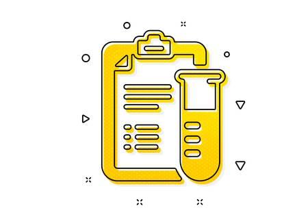 Medicine beaker sign. Medical analyzes icon. Pharmacy medication symbol. Yellow circles pattern. Classic medical analyzes icon. Geometric elements. Vector