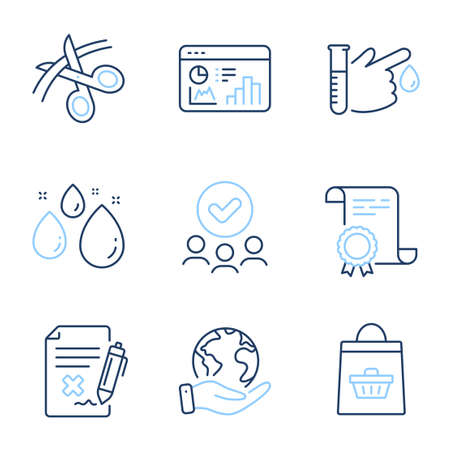 Online buying, Scissors and Seo statistics line icons set. Diploma certificate, save planet, group of people. Blood donation, Water drop and Reject file signs. Vector Ilustração