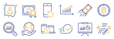 Set of Education icons, such as Data analysis, Chart. Certificate, save planet. Calculator target, Correct answer, Recovery phone. Time management, Fast payment, Checkbox. Vector Ilustración de vector