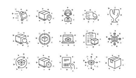 Truck Delivery, Checklist and Parcel tracking. Logistics and Shipping line icons. Cargo linear icon set. Geometric elements. Quality signs set. Vector