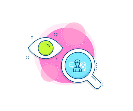 Conversation sign. Research complex icon. People talking line icon. Communication speech bubbles symbol. Analytics or analysis banner. People talking sign. Vector Ilustração