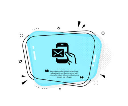Messenger Mail icon. Quote speech bubble. New newsletter sign. Phone E-mail symbol. Quotation marks. Classic messenger Mail icon. Vector 向量圖像