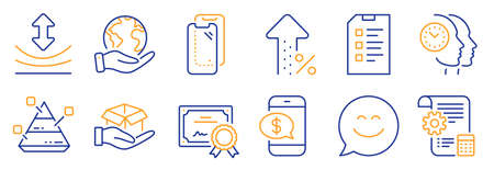 Set of Technology icons, such as Pyramid chart, Phone payment. Certificate, save planet. Smartphone glass, Settings blueprint, Smile chat. Increasing percent, Hold box, Time management. Vector