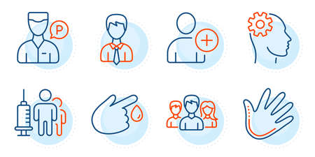 Businessman, Add user and Hand signs. Valet servant, Engineering and Teamwork line icons set. Blood donation, Medical vaccination symbols. Parking man, Cogwheel head. People set. Vector