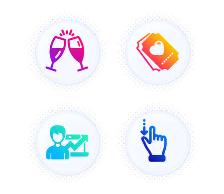 Love ticket, Champagne glasses and Success business icons simple set. Button with halftone dots. Touchscreen gesture sign. Heart, Chin-chin, Growth chart. Slide down. People set. Vector