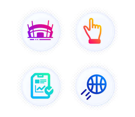 Arena stadium, Report checklist and Click hand icons simple set. Button with halftone dots. Basketball sign. Competition building, Sales growth file, Direction finger. Sport ball. Business set. Vector