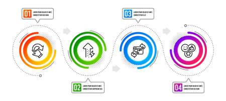 Refresh website, Rotation gesture and Like line icons set. Infographic timeline. Energy growing sign. Update internet, Undo, Social media likes. Power usage. Business set. Vector