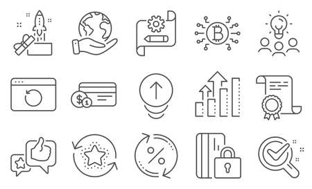 Set of Technology icons, such as Cogwheel blueprint, Bitcoin system. Diploma, ideas, save planet. Swipe up, Analysis graph, Blocked card. Loyalty points, Like, Chemistry lab. Vector