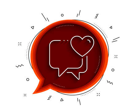 Heart line icon. Chat bubble with shadow. Love chat sign. Valentine day symbol. Thin line heart icon. Vector