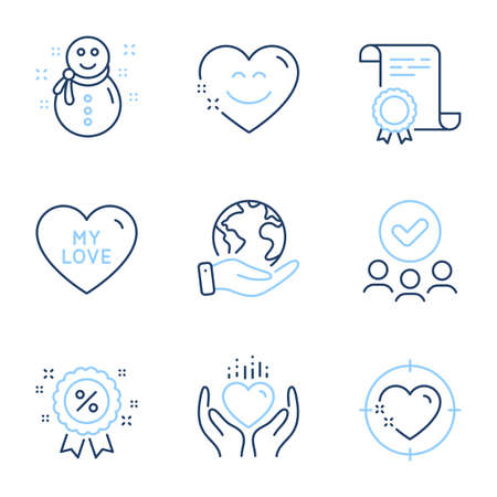 Heart target, Hold heart and Snowman line icons set. Diploma certificate, save planet, group of people. My love, Smile chat and Discount signs. Love aim, New year, Sale shopping. Holidays set. Vector 向量圖像