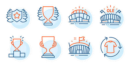 Change clothes, Winner and Sports arena signs. Laureate, Award cup and Arena stadium line icons set. Winner podium symbol. Award shield, Trophy. Sports set. Outline icons set. Vector 向量圖像