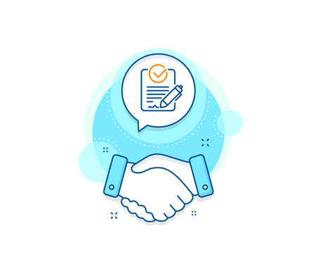 Request for proposal sign. Handshake deal complex icon. Rfp line icon. Report document symbol. Agreement shaking hands banner. Rfp sign. Vector Ilustrace