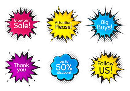 Follow us, 50% discount and attention please. Comic speech bubble. Thank you, hi and yeah phrases. Sale shopping text. Chat messages with phrases. Colorful texting comic speech bubble. Vector
