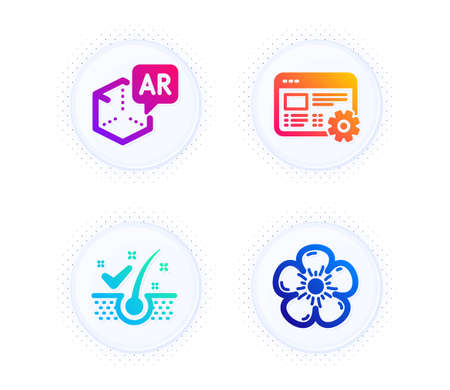 Augmented reality, Anti-dandruff flakes and Web settings icons simple set. Button with halftone dots. Natural linen sign. Virtual reality, Healthy hair, Engineering tool. Organic tested. Vector