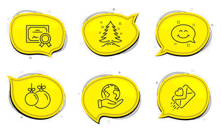 Love letter sign. Diploma certificate, save planet chat bubbles. Christmas ball, Smile chat and Christmas tree line icons set. Decoration, Happy emoticon, Spruce. Heart. Holidays set. Vector