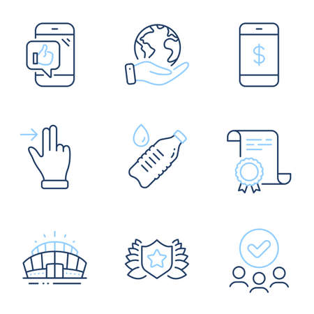 Arena stadium, Water bottle and Smartphone payment line icons set. Diploma certificate, save planet, group of people. Laureate, Touchscreen gesture and Mobile like signs. Vector