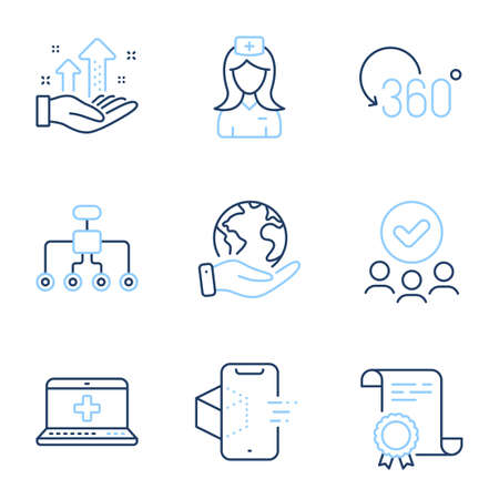 Restructuring, Hospital nurse and Full rotation line icons set. Diploma certificate, save planet, group of people. Medical help, Augmented reality and Analysis graph signs. Vector