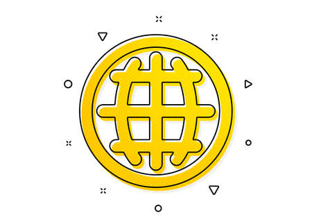 World or Earth sign. Globe icon. Global Internet symbol. Yellow circles pattern. Classic globe icon. Geometric elements. Vector Иллюстрация