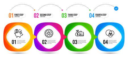 Salary, Euler diagram and Fan engine line icons set. Timeline steps. Bitcoin coin sign. Diplomat with money bag, Relationships chart, Ventilator. Piggy bank. Finance set. Vector Ilustração