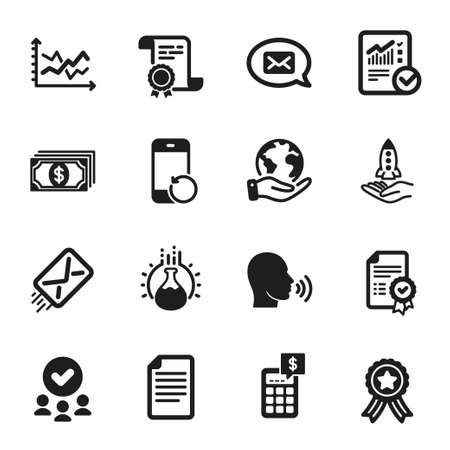 Set of Education icons, such as Certificate, Calculator. Certificate, approved group, save planet. Checked calculation, Payment, Diagram chart. Crowdfunding, Chemistry experiment, Messenger. Vector