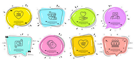 Friendship, Hold heart signs. Speech bubbles with quotes. Couple, Love letter and Love mail line icons set. Valentines day, Heart. Love set. Chat icons set. Vector 向量圖像