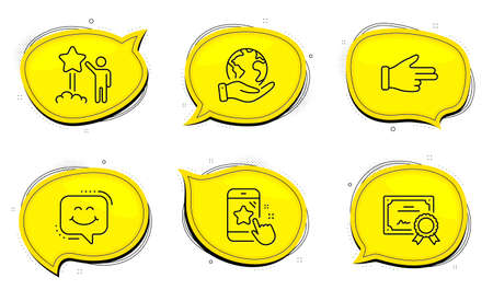 Smile chat sign. Diploma certificate, save planet chat bubbles. Click hand, Star rating and Star line icons set. Direction finger, Phone feedback, Launch rating. Happy face. People set. Vector 向量圖像