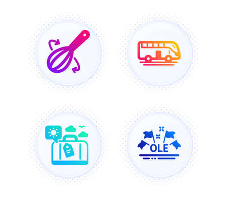 Cooking whisk, Travel luggage and Bus tour icons simple set. Button with halftone dots. Ole chant sign. Cutlery, Trip bag, Transport. Sport championship. Business set. Vector