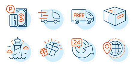Office box, Lighthouse and 24 hours signs. Free delivery, Truck delivery and Gift line icons set. World travel, Parking payment symbols. Shopping truck, Express service. Transportation set. Vector