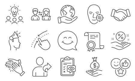 Set of People icons, such as Brand ambassador, Eye checklist. Diploma, ideas, save planet. Smile face, Income money, Like. Problem skin, Handshake, Refer friend. Vector