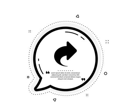 Share arrow icon. Quote speech bubble. Link Arrowhead symbol. Communication sign. Quotation marks. Classic share icon. Vector