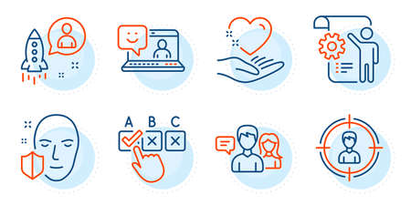 Startup, Face protection and Correct checkbox signs. Hold heart, Smile and People talking line icons set. Headhunting, Settings blueprint symbols. Care love, Laptop feedback. People set. Vector