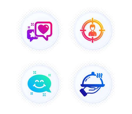 Heart, Smile chat and Headhunting icons simple set. Button with halftone dots. Restaurant food sign. Star rating, Happy emoticon, Person in target. Room service. Business set. Vector