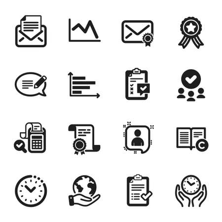 Set of Education icons, such as Verified mail, Safe time. Certificate, approved group, save planet. Developers chat, Horizontal chart, Message. Approved checklist, Bill accounting, Checklist. Vector 向量圖像